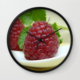 Raspberry Close Up - Cafe or Kitchen Decor Wall Clock