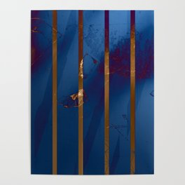 Electric Blue Abstract with Gold Stripes Poster