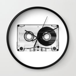 1980's Retro Black-White Vintage 80's Cassette Eighties Technology Art Print Home Decor Wall Decor Wall Clock