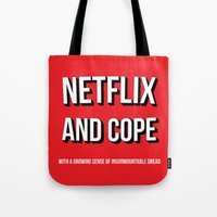 netflix Tote Bags featuring Netflix and Cope by Matthew Hadley