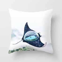 Space Manta Ray Throw Pillow