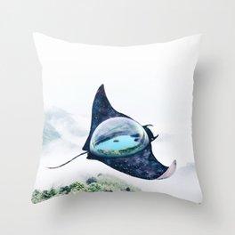 Space Manta Ray Throw Pillow