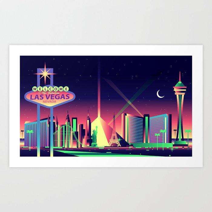 Las Vegas Skyline Art Print By Mauromodenese Society6