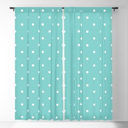 Small White Polka Dots with Aqua Background Blackout Curtain