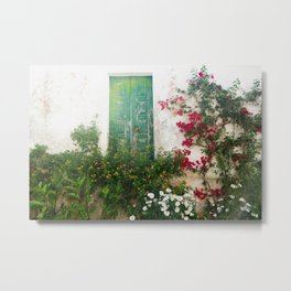 Wall with Shutters and Flowers, Óbidos Metal Print
