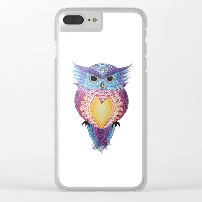 Henna Owl Clear iPhone Case