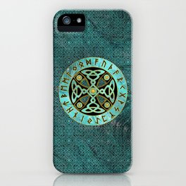 Decorative Celtic Cross  - and Runes alphabet iPhone Case