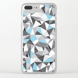 Blue and Grey Geometric Art #society6 #decor #buyart Clear iPhone Case