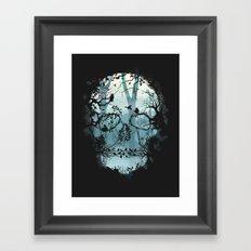 Dark Forest Skull Framed Art Print