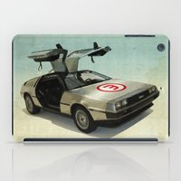 delorean iPad Cases featuring Number 3 - DeLorean by Vin Zzep