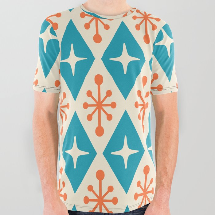 Mid Century Modern Atomic Triangle Pattern 107 All Over Graphic Tee