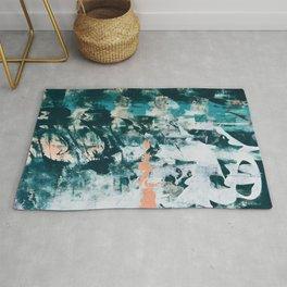 019: a vibrant abstract design in dark teal peach and white by Alyssa Hamilton Art Rug