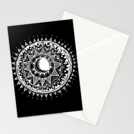 Black Moon Mandala Stationery Cards