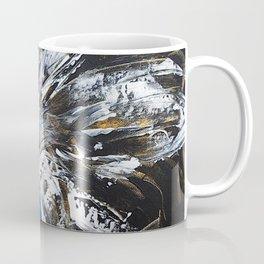 white flower on black background, painted Coffee Mug
