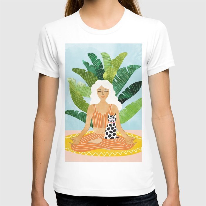 Meditation With Thy Cat #illustration #painting T-shirt
