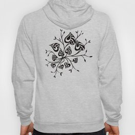 Abstract Floral With Pointy Leaves In Black And Greenery Hoody
