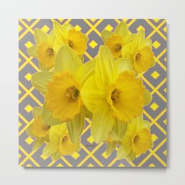 Grey & yellow Pattern Spring Daffodils Art Metal Print
