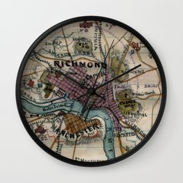 Vintage Richmond Virginia Civil War Map (1865) Wall Clock