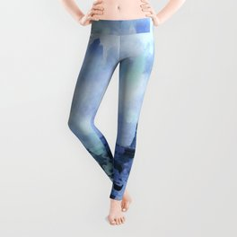 Blue Eifel Tower Paris France abstract painting Leggings