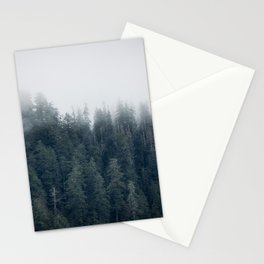 Misty Morning - Fog Rises off Mountains Revealing Forest in Washington Stationery Cards