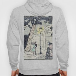 Young Lovers Caught Under the Street Lamp Hand Colored Vintage Erotica Hoody