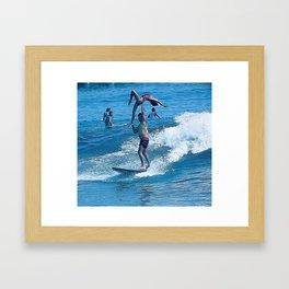 Mary & John Surfing #2 Framed Art Print