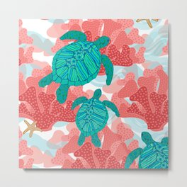 Sea Turtles in The Coral - Ocean Beach Marine Metal Print