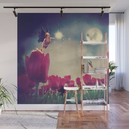 Dream fairy in fantasy land with bright red tulips at night time Wall Mural
