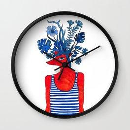 Flowery fox Wall Clock