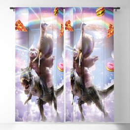 Laser Eyes Space Llama On Sloth Dinosaur - Rainbow Blackout Curtain