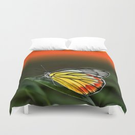 Butterfly Staring at Sunset Duvet Cover