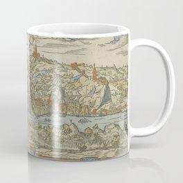 Vintage Pictorial Map of Lyon France (1555) Coffee Mug