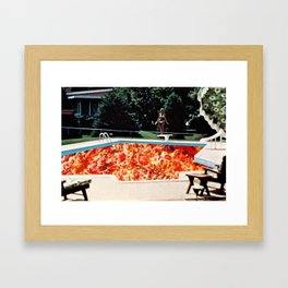 Pizza Pool Party Collage Framed Art Print