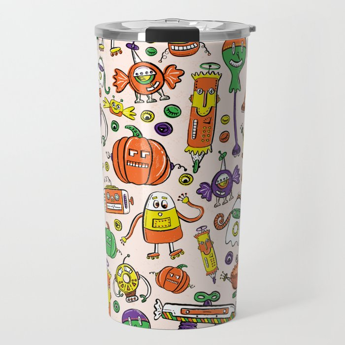 Monster Halloween Candy Bots in Orange, Green, & Purple  // Fall Holiday Themed Candy Robots Travel Mug