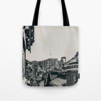 seoul Tote Bags featuring Seoul Cityscape by Jennifer Stinson
