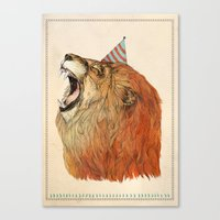 birthday Canvas Prints featuring Birthday Lion by Sandra Dieckmann
