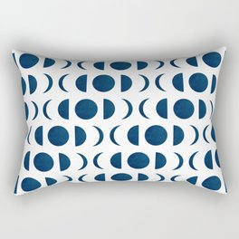 Phases of the Moon - Midnight Blue - Block Print Pattern Rectangular Pillow