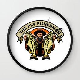Fly Fisherman Holding Largemouth Bass Woodcut Wall Clock