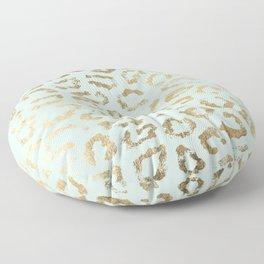 Elegant trendy neo mint gold cheetah animal print Floor Pillow