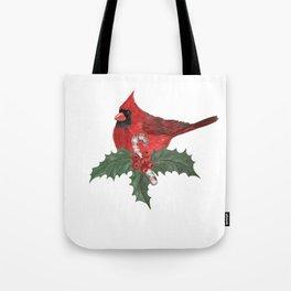red cardinal bird Tote Bag