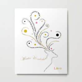Typographic Reindeer Love - White Metal Print