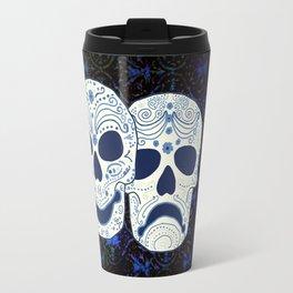 Comedy-Tragedy Sugar Skulls Cyan Travel Mug