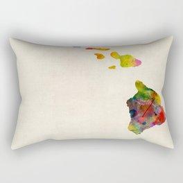 Hawaii Watercolor Map Rectangular Pillow