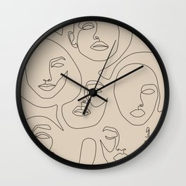 Faces In Beige Wall Clock