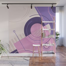 Modern geometric composition pink and blue Wall Mural