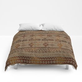Maya / Aztec  pattern Burn gold on canvas Comforters
