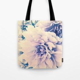 Delicate Beauty (Vintage Blue Lavender Dahlias) Tote Bag