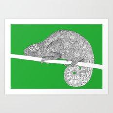 Green-Chameleon Art Print