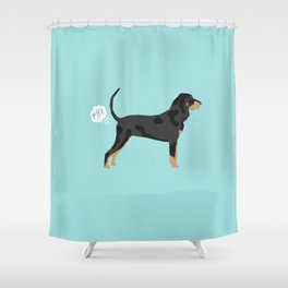 Coonhound funny farting dog breed gifts Shower Curtain