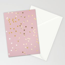 Pink and Gold Stars Stationery Cards